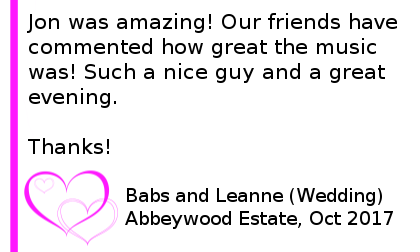 Abbeywood Estate DJ Review - Jon was amazing! Our friends have commented how great the music was. Such a nice guy and a great evening. Thanks. Abbeywood Estate Wedding DJ.