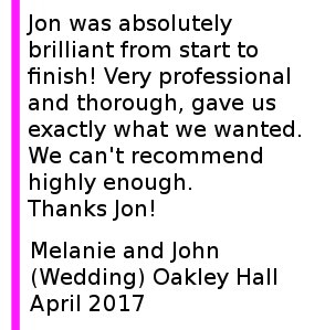 Oakley Hall Wedding Review - Cheshire Wedding DJs were absolutely brilliant from start to finish! Very professional and thorough, gave us exactly what we wanted. We can't recommend highly enough. Oakley Hall Wedding DJ