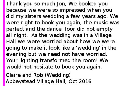 Over Wyresdale Parish Hall Wedding DJ Review