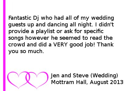 Mottram Hall Review - Fantastic Dj who had all of my wedding guests up and dancing all night. I did not provide a playlist or ask for specific songs however he seemed to read the crowd and did a VERY good job! Thank you so much. Jen and Steve (Wedding) Mottram Hall, August 2013. Mottram Hall Wedding DJ